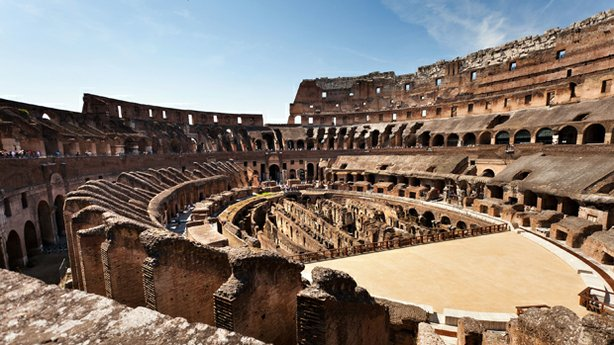 The interior of the Colosseum, Rome.