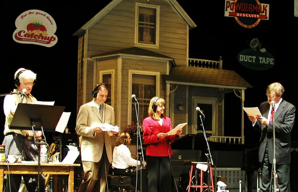 "The cast of ""A Prairie Home Companion"" (l-r): Fred Newman, Tim Russell, Sue Scott and Garrison Keillor."