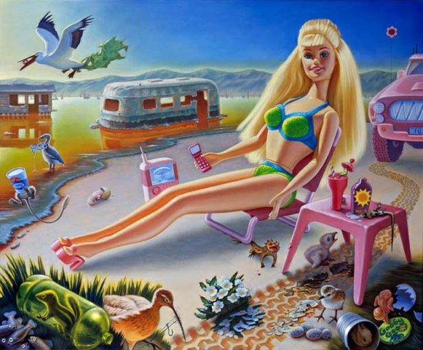 """Sunbathe Barbie at Bombay Beach,"" a painting by the late local artist Jen Trute."