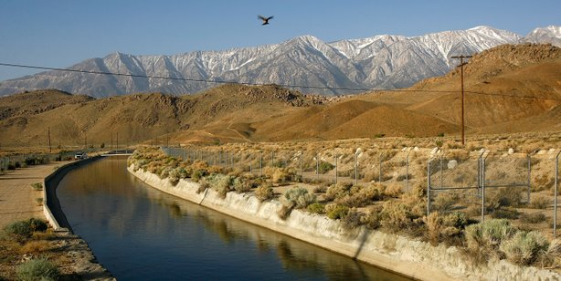 The Los Angeles Aqueduct carries water from the snowcapped Sierra Nevada Mountains.