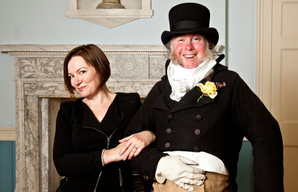 Professor Amanda Vickery with Martin the Jane Austen Centre Meeter and Greeter at the Guildhall Fayre.