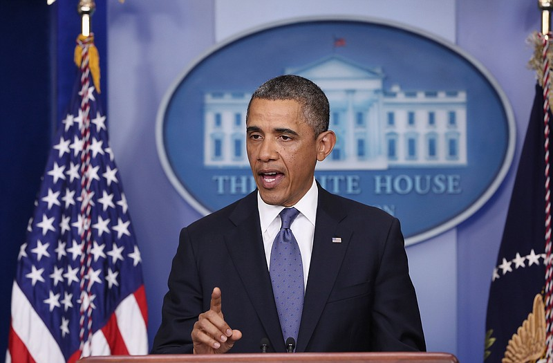 President Barack Obama makes a statement to the press in the Brady Press Brie...