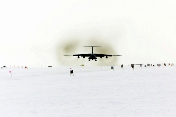 The C-141C Starlifter aircraft from the 452nd Air Mobility Wing, March Air Reserve Base, California, approaching the Pegasus runway at McMurdo Station in Antarctica .