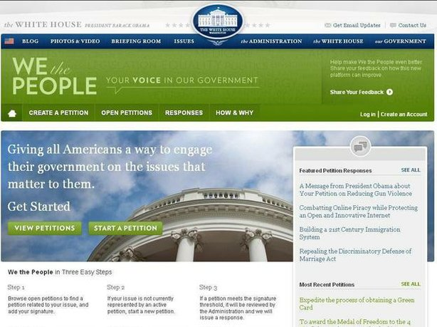"The White House website <a href=""https://petitions.whitehouse.gov/"">www.petit..."
