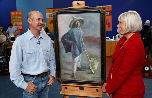 Appraiser Colleene Fesko (right) with a guest and his Diego Rivera painting.