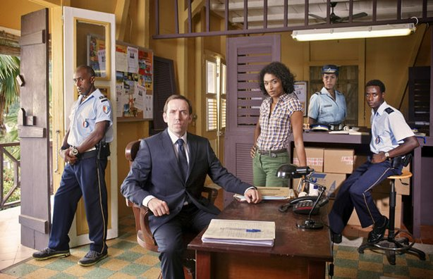 Danny John-Jules as Dwayne Myers, Ben Miller as DI Richard Poole, Sara Martins as Camille, Lenora Crichlow as Lily Thomson and Gary Carr as Fidel Best in DEATH IN PARADISE.