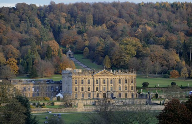 Exterior view of Chatsworth House, one of Britain's most majestic stately homes.