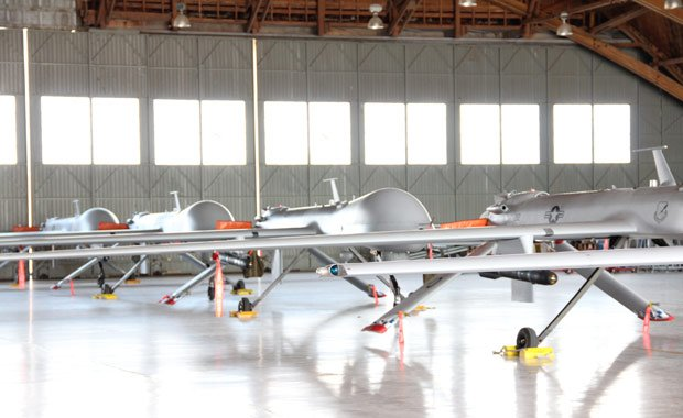 Predators lined up in hangar at Holloman Air Force base, New Mexico.