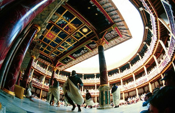 "Performance of Shakespeare Play ""Julius Caesar"" at the Globe Theatre, Southwark, London, Britain (1999)."