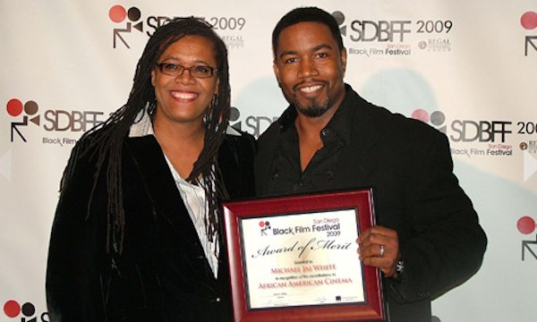 San Diego Black Film Festival director Karen Willis with actor Michael Jai White at the 2009 festival.