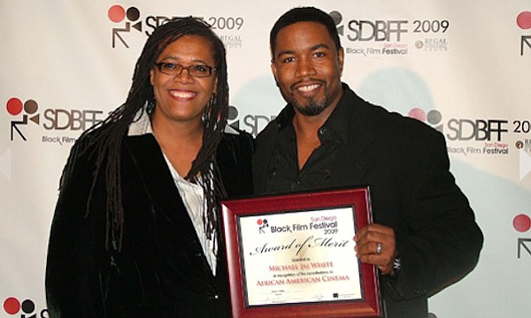San Diego Black Film Festival director Karen Willis with actor Michael Jai Wh...