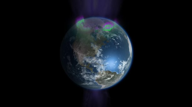 Visualization showing how charged particles stream onto the poles of the Earth creating the northern and southern lights.