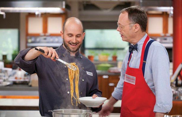 Test cook Bryan Roof makes pasta with host Christopher Kimball.