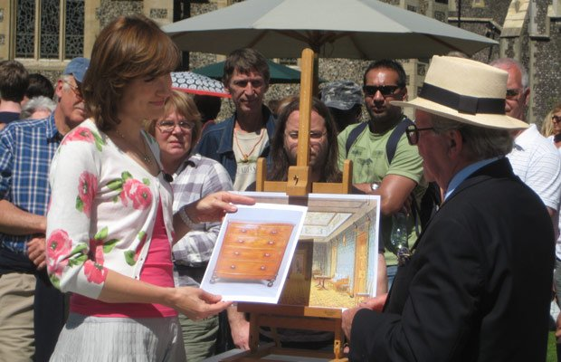 ANTIQUES ROADSHOW presenter Fiona Bruce talks to furniture specialist John Bl...