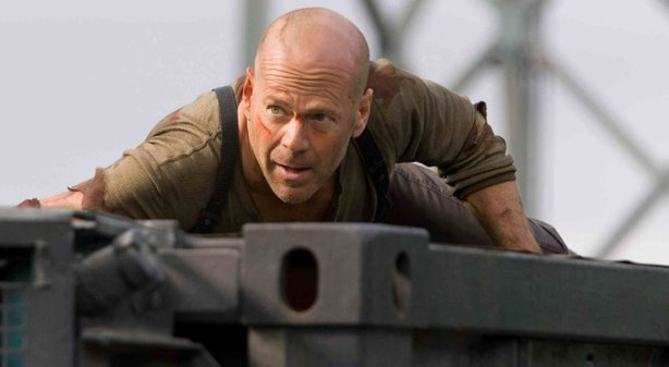 "Bruce Willis Reprises his role as John McClane in ""Live Free or Die Hard."""