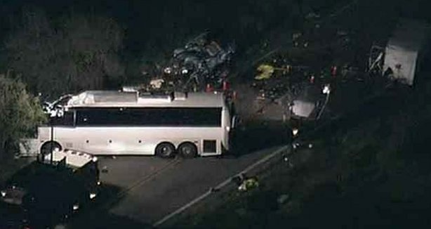 Eight people were killed and dozens injured after a tour bus crashed into a pickup truck in San Bernadino, Calif. on February 4, 2013.