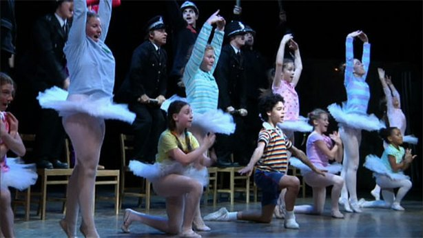 "Promotional still of performers from ""Finding Billy Elliot."""