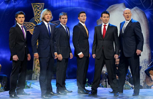 Celtic Thunder L-R: Emmet Cahill, Keith Harkin, Neil Byrne, Colm Keegan, Ryan Kelly and George Donaldson.