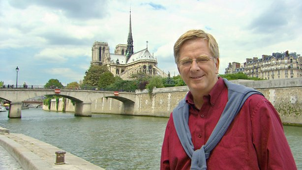 Rick Steves and Notre Dame, Paris.