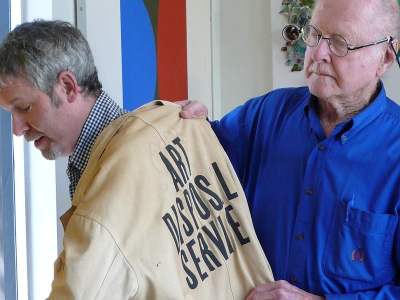 Artist Bob Matheny, founder of the San Diego branch of Art Disposal Service, ...