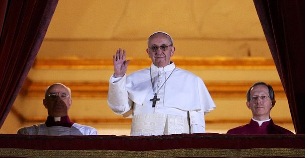 Newly elected Pope Francis I appears on the central balcony of St. Peter's Ba...