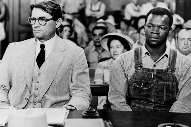 "Gregory Peck (in the role that won him an Oscar) and Brook Peters star in the film adaptation of Harper Lee's ""To Kill A Mockingbird."""