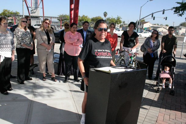 City Heights resident Maria Cortez discusses her nearly three-decade wait for a bus route called Centerline at a 2011 press conference. Residents have fought for the long-delayed transit project since the 1980's, when it was promised to them in exchange for allowing CalTrans to extend Interstate-15 through their neighborhood.