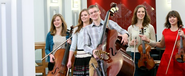 The Bunnell Strings includes siblings (L-R) Kimberly, Corrie, Ross, Keren, an...