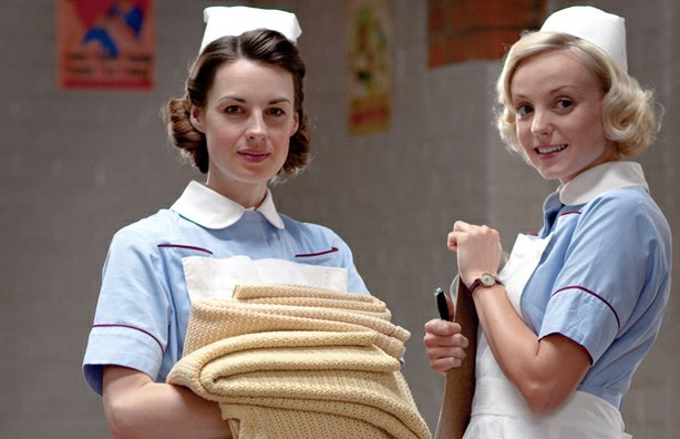 Jessica Raine as Jenny Lee and Helen George as Trixie Franklin in CALL THE MIDWIFE.