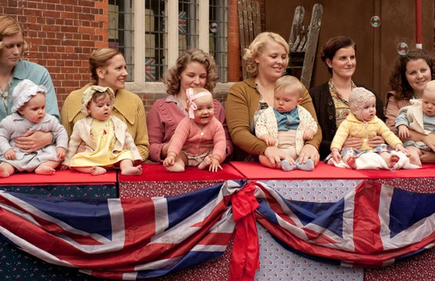 Supporting actors at the street party in CALL THE MIDWIFE.