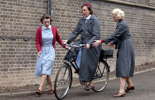 Jessica Raine as Jenny Lee, Miranda Hart as Chummy Noakes and Helen George as Trixie Franklin in CALL THE MIDWIFE.