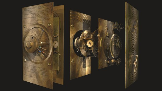 A computer-generated exploded model of the Antikythera Mechanism, showing the...