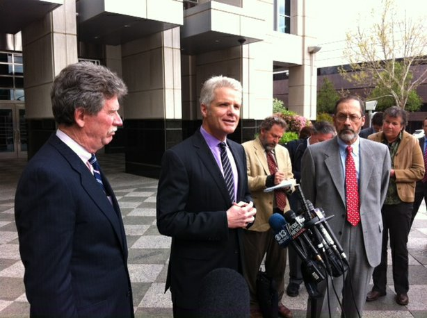 Stockton City Manager Bob Deis talks outside the federal courthouse in Sacram...