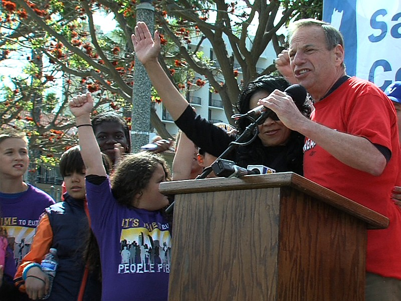 Mayor Bob Filner and City Council candidate Myrtle Cole at a Cesar Chavez Day...