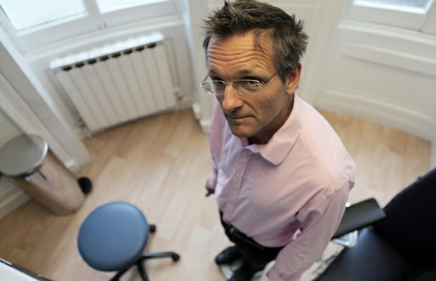 Presenter Michael Mosley having a final weigh-in, after five weeks of intermittent fasting.