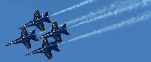 U.S. Navy Blue Angels F/A-18 Hornets practice their performance ahead of the ...