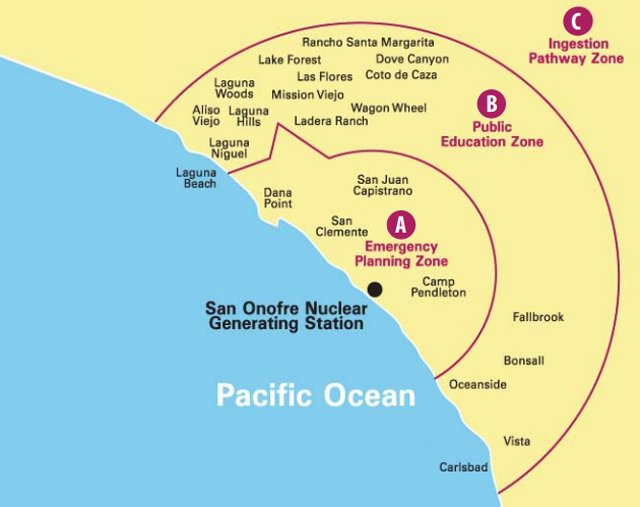 San Onofre Nuclear Generating Station emergency planning zones.