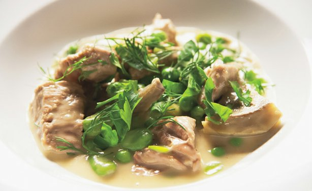 Veal Stew with Artichoke Hearts, Fava Beans, and Peas - Martha Stewart walks ...