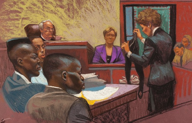 In a courtroom rendering from the first Central Park Jogger trial, prosecutor...