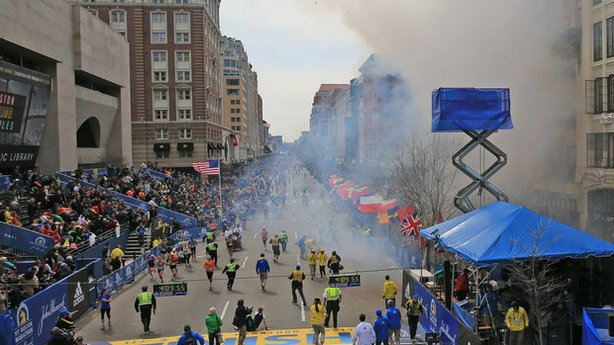 Two explosions went off near the finish line of the 117th Boston Marathon on April 15, 2013. At least dozens of people have been seriously injured, the Boston Globe reported on its Twitter feed.