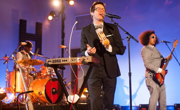 Quentin Joseph, Mayer Hawthorne and Joe Abrams perform on stage. Mayer Hawtho...