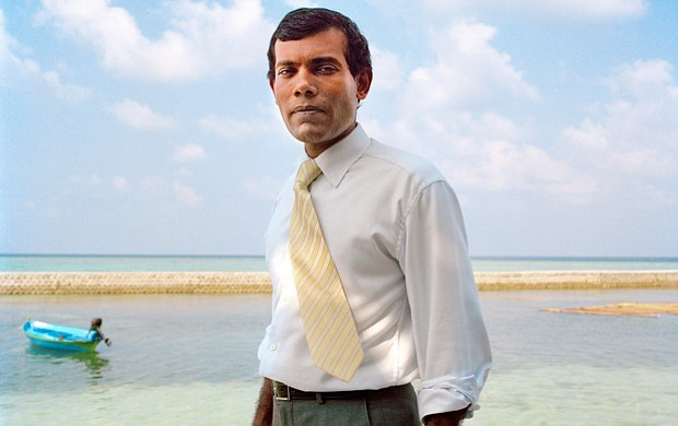 Mohamed Nasheed, the first democratically elected president of the Republic o...