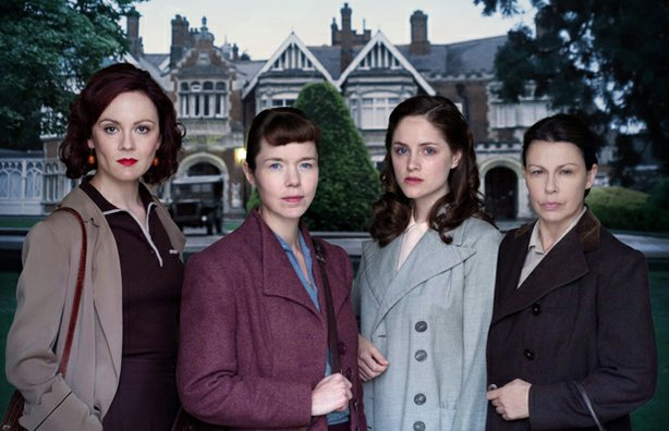 """Rachael Stirling as Millie, Anna Maxwell Martin as Susan, Sophie Rundle as Lucy, Julie Graham as Jean in """"The Bletchley Circle."""""""