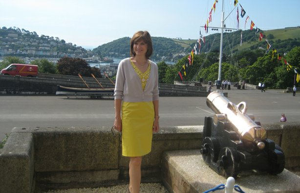 Presenter Fiona Bruce at Dartmouth Naval College.