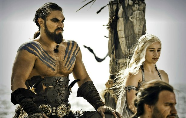 "Actors Jason Momoa (Khal Drogo) and Emilia Clarke (Daenerys Targaryen), play the royal Dothraki couple in HBO's ""Game of Thrones."""