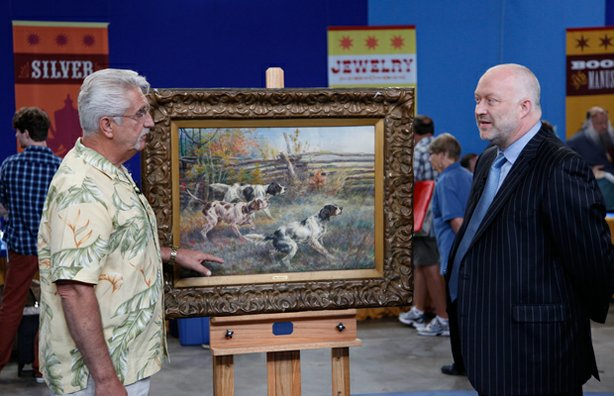 Alasdair Nichol (right) appraises a guest's Edmund H. Osthaus watercolor, ca....