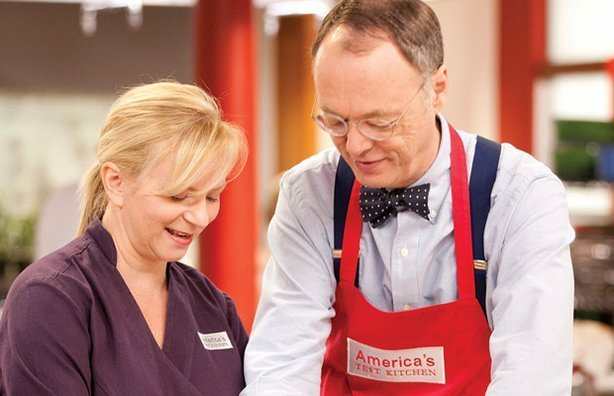 Test kitchen chef Bridget Lancaster with host Christopher Kimball