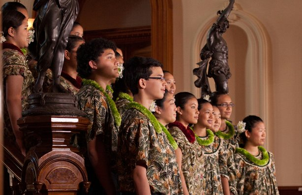 "The Hawaii Youth Opera Chorus directed by Nola Nahulu. In ""Na Lani Eha From '..."