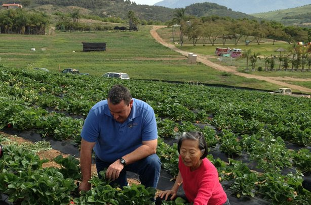 Su-Mei Yu (right) visits Noel Stehly of Stehly Farms in Valley Center to learn how a modern organic farmer operates in San Diego.