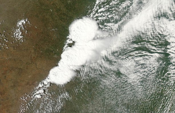 This image of the storm system that generated the F-5 tornado in Moore, Oklahoma, was taken by NASA's Moderate Resolution Imaging Spectroradiometer (MODIS) instrument aboard one of the Earth Observing System (EOS) satellites. The image was captured on May 20, 2013, at 19:40 UTC (2:40 p.m. CDT) as the tornado began its deadly swath.